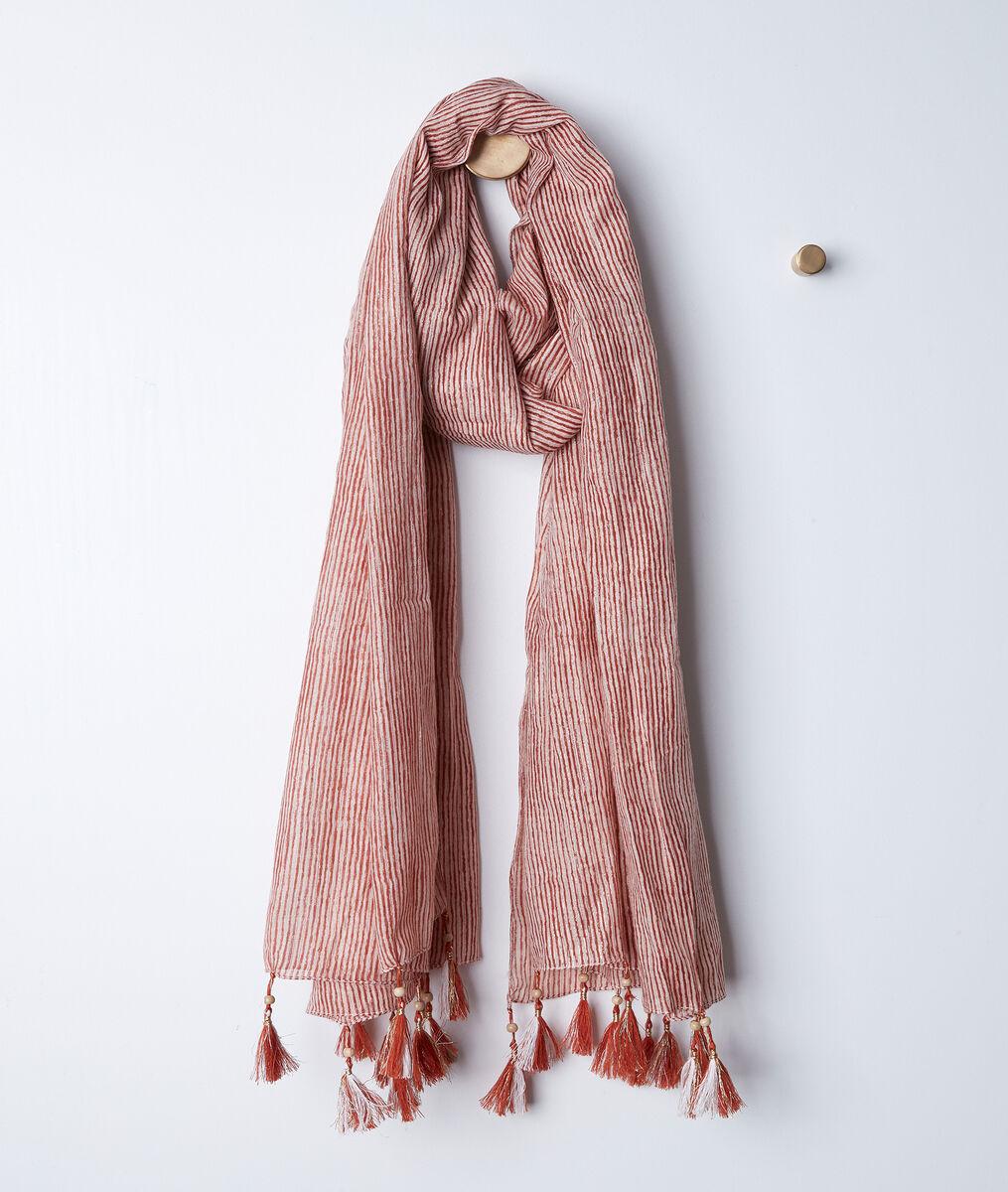 Bayron guava-coloured striped fringed scarf PhotoZ | 1-2-3