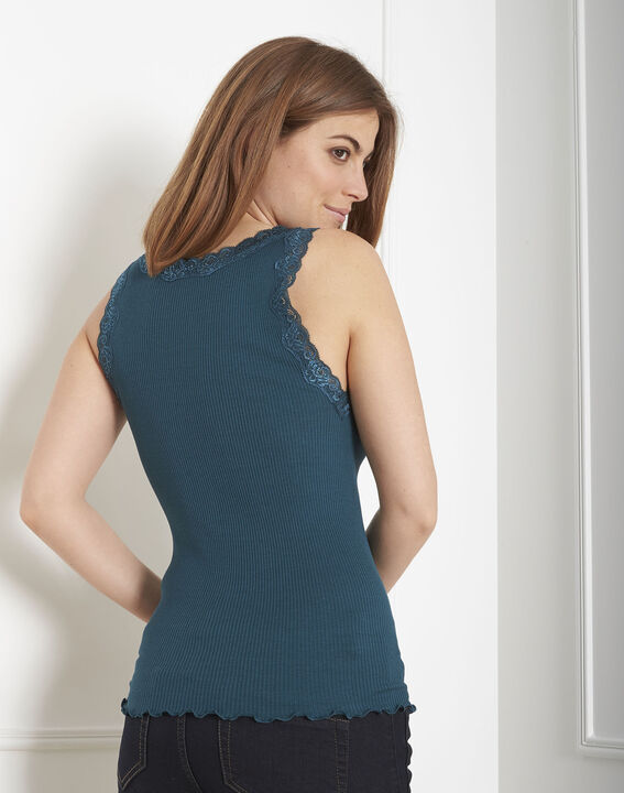 Guest green silk and cotton tank top with lace neckline (3) - Maison 123