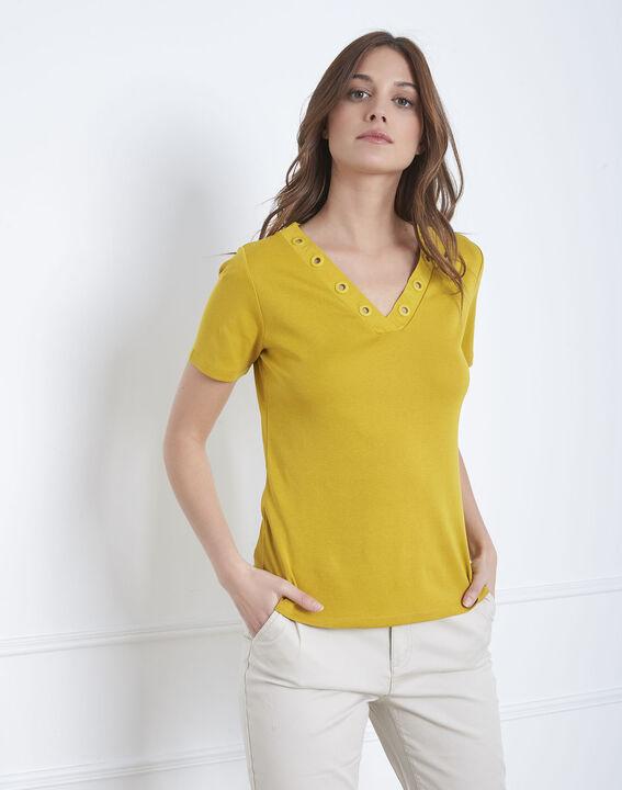 Basic lime green t-shirt with eyelet neckline (2) - Maison 123
