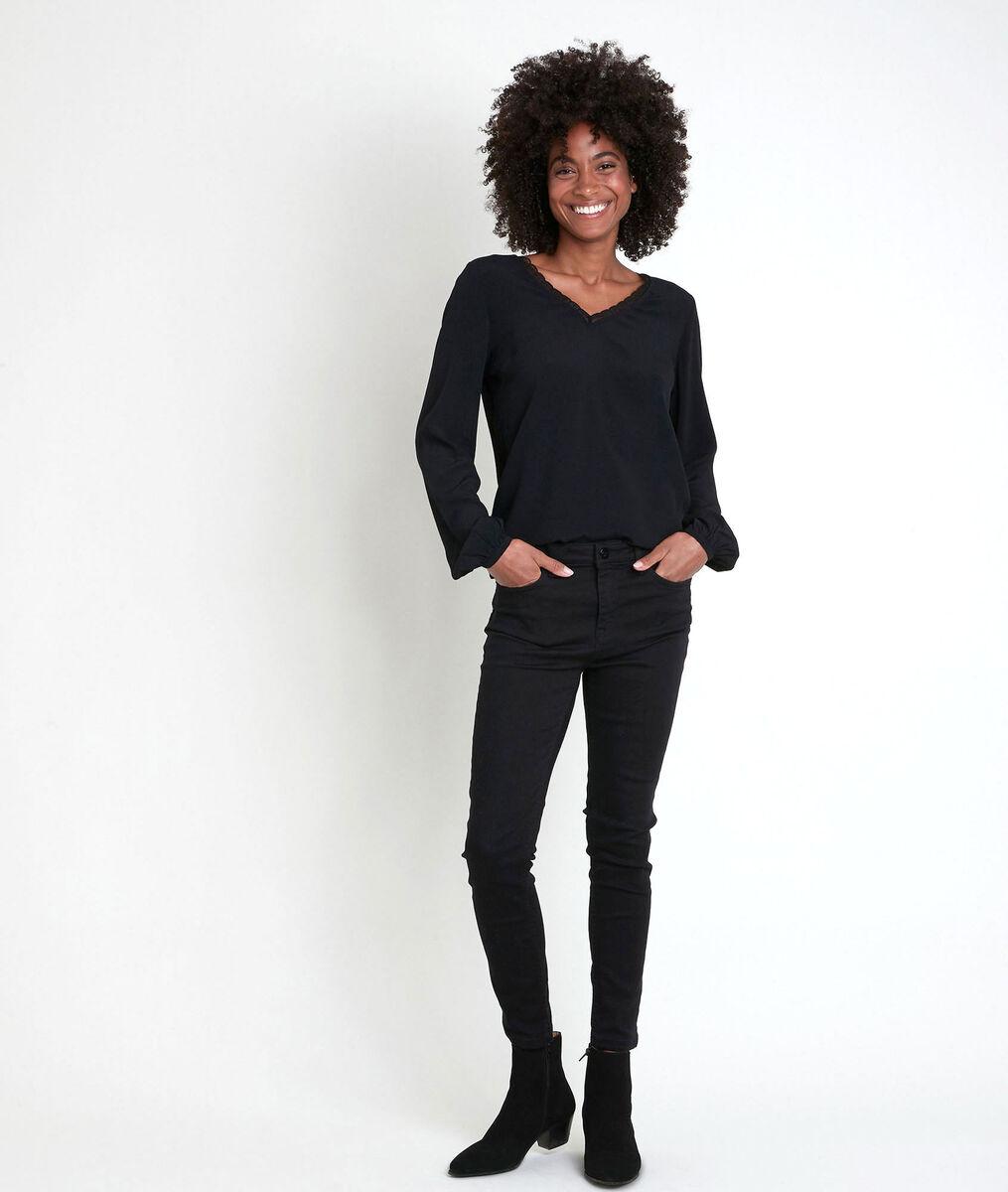 WILSON black dual-fabric V-neck top PhotoZ | 1-2-3
