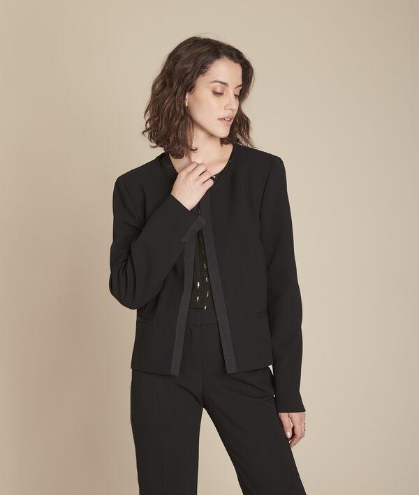 Charme black microfibre and grosgrain jacket PhotoZ   1-2-3