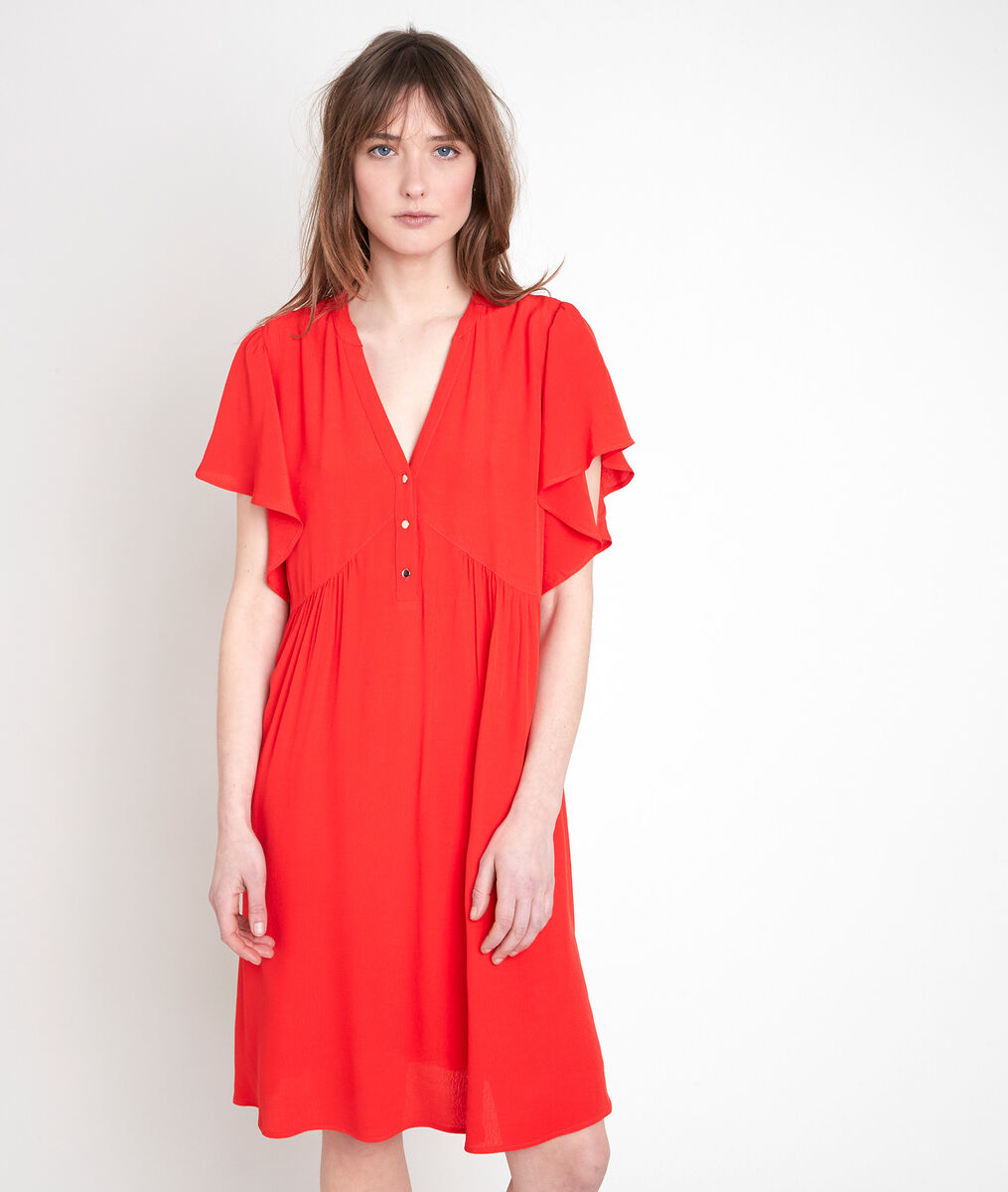 CALLO red crêpe ruffle dress PhotoZ | 1-2-3