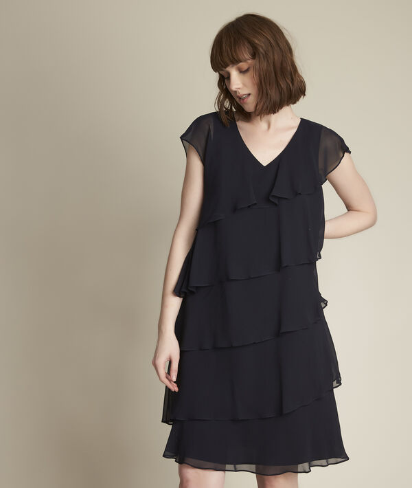 Oly navy blue silk dress with ruffles PhotoZ | 1-2-3