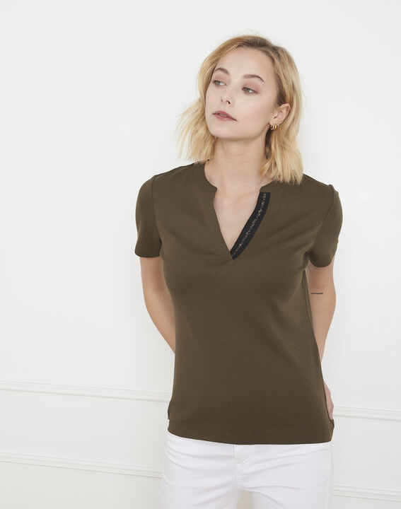 Priscille khaki bias-cut lurex T-shirt PhotoZ | 1-2-3