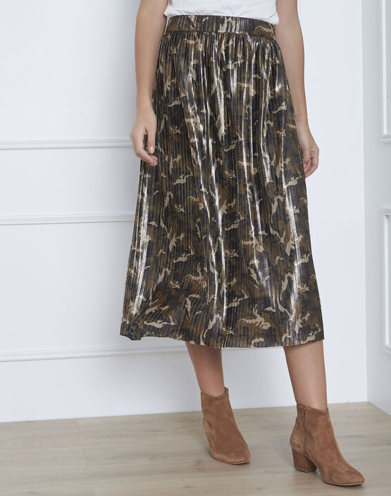 Sable pleated camo print skirt PhotoZ | 1-2-3