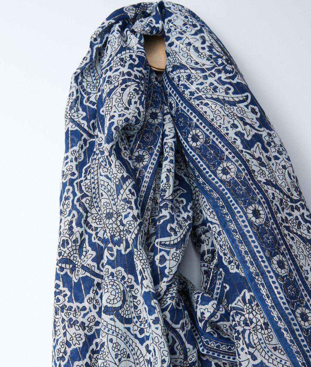 Bianca blue cashmere printed scarf PhotoZ | 1-2-3