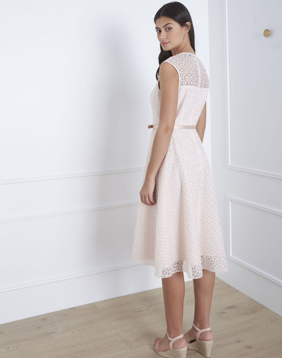 Honorine powder pink lace dress with belt (4) - Maison 123