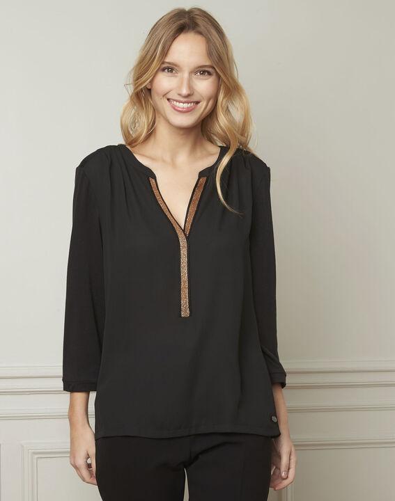 Vassilia henley collar black lurex blouse PhotoZ | 1-2-3