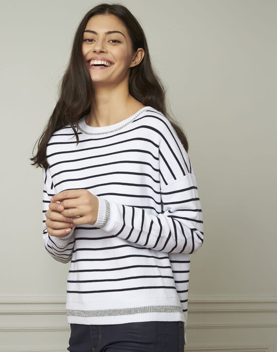 Archipel white striped viscose blend pullover (1) - Maison 123
