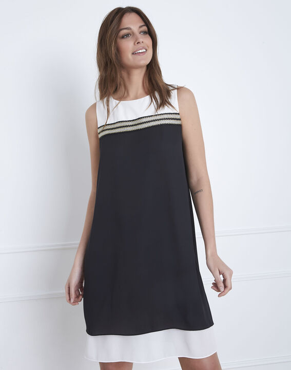 Isola black and white dress with lurex detailing (1) - Maison 123