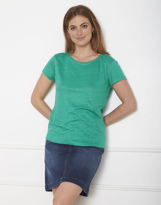 Pin green T-shirt with ladder stitch detail PhotoZ | 1-2-3