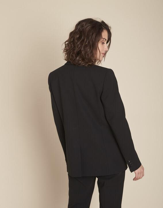 Stella black microfibre shawl collar jacket (4) - Maison 123
