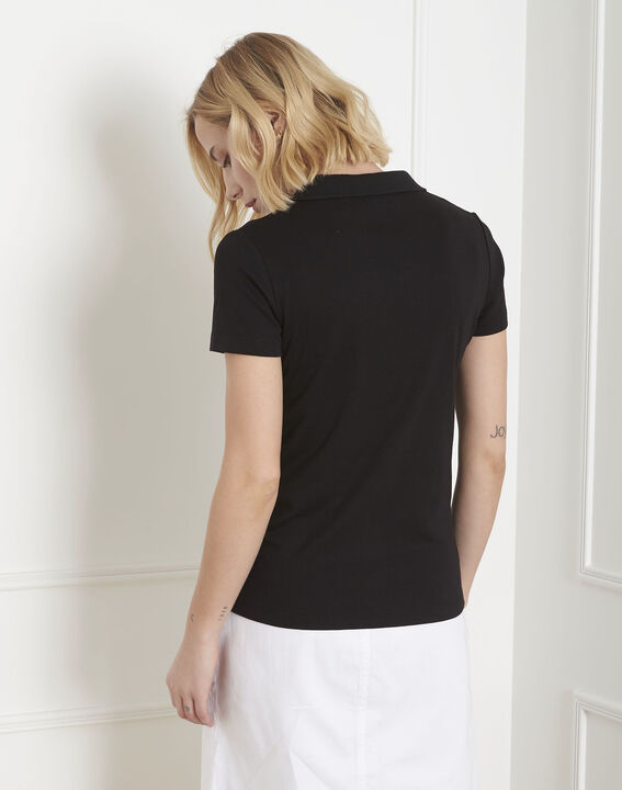 Prudence black T-shirt with polo-shirt neck (4) - Maison 123