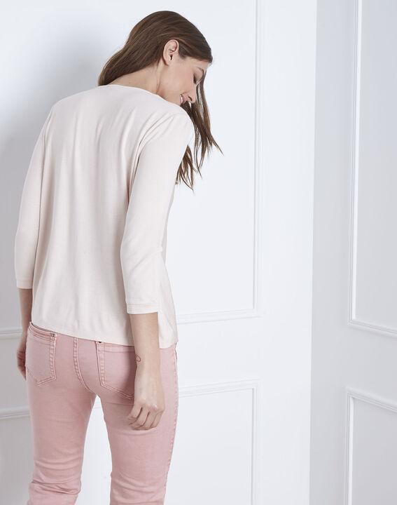 Vanina crossover neckline top bimaterial powdered blouse (4) - Maison 123