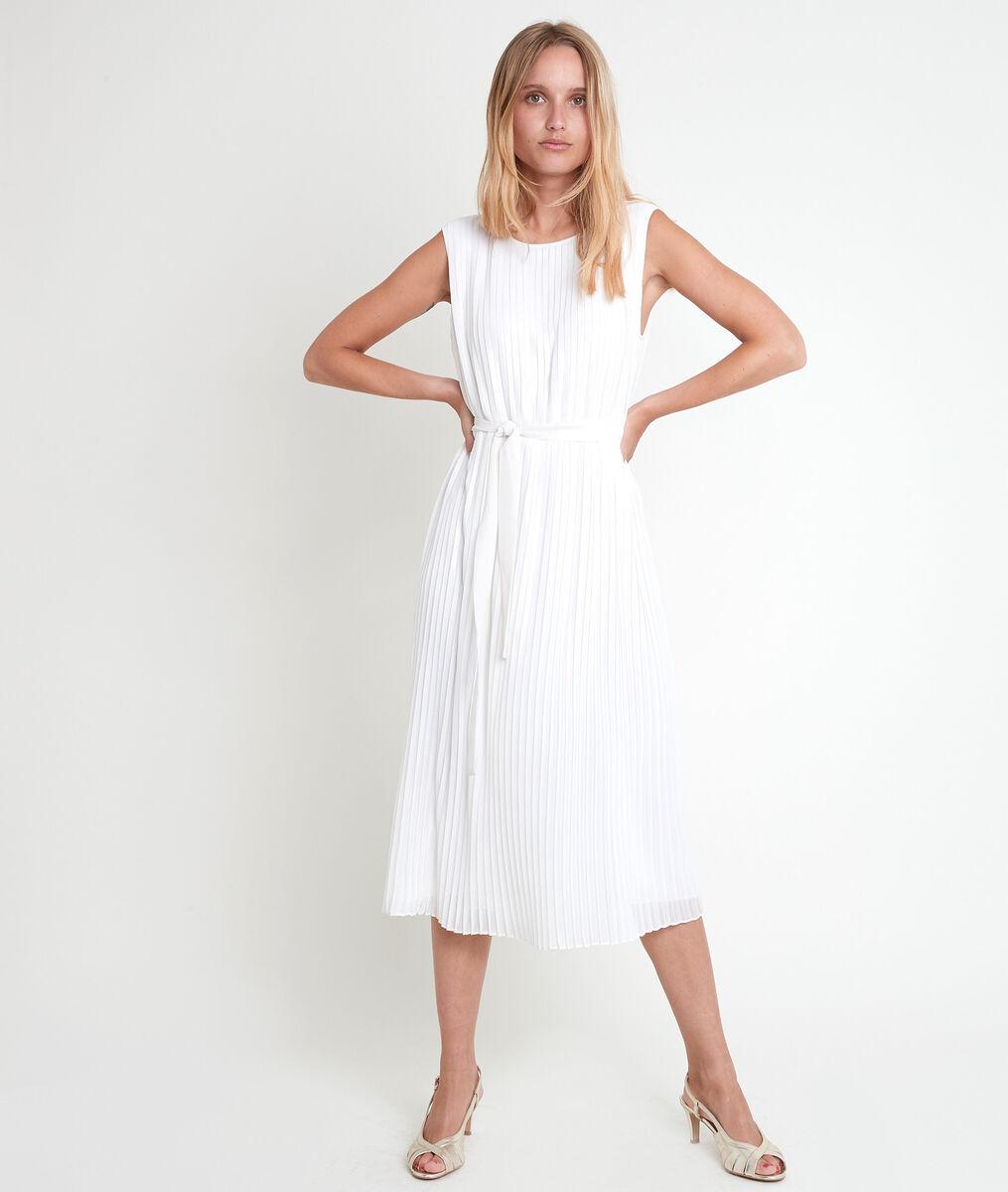 Marlène iridescent ecru pleated dress PhotoZ   1-2-3