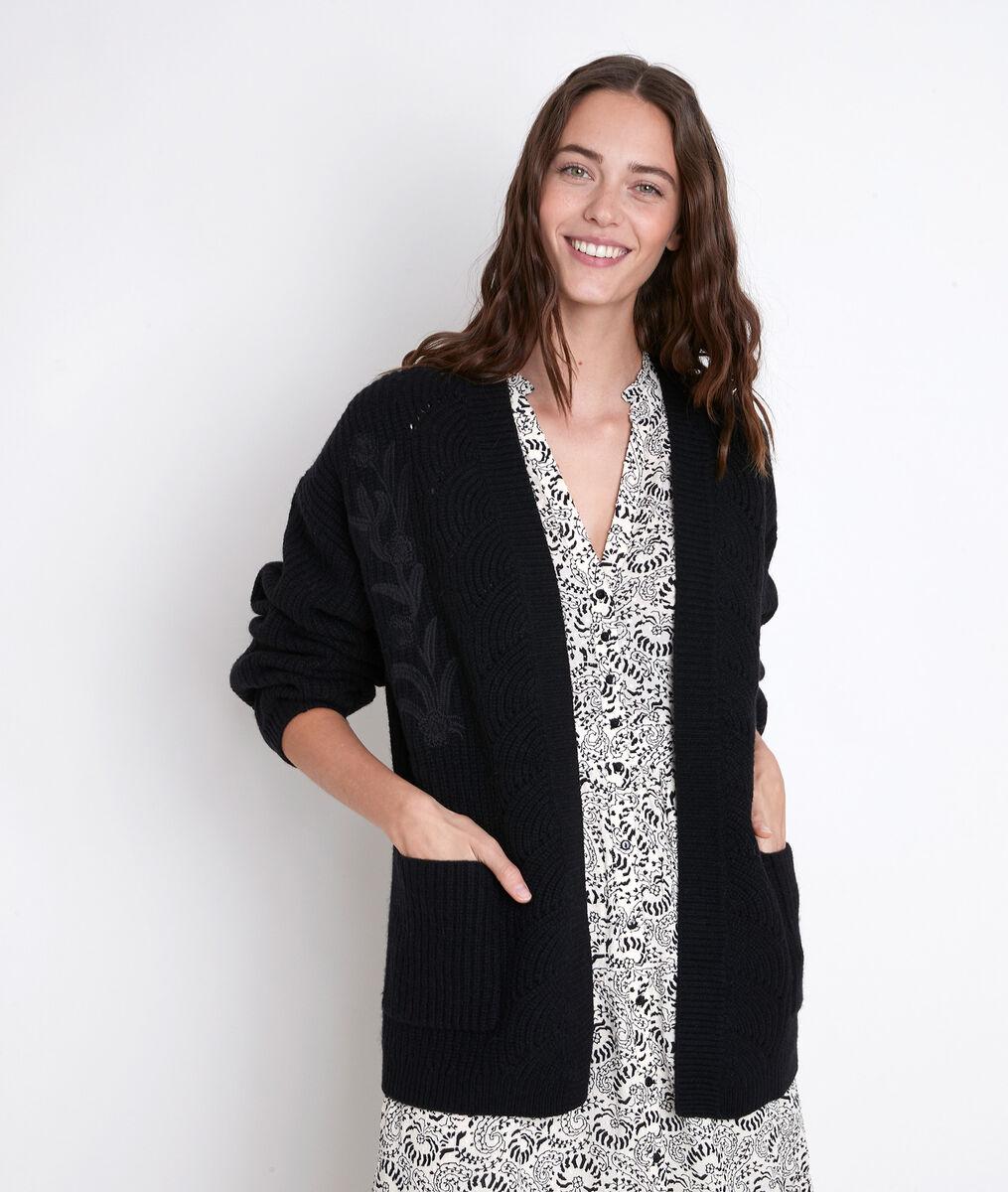 ALEXY black wool-blend cardigan PhotoZ | 1-2-3
