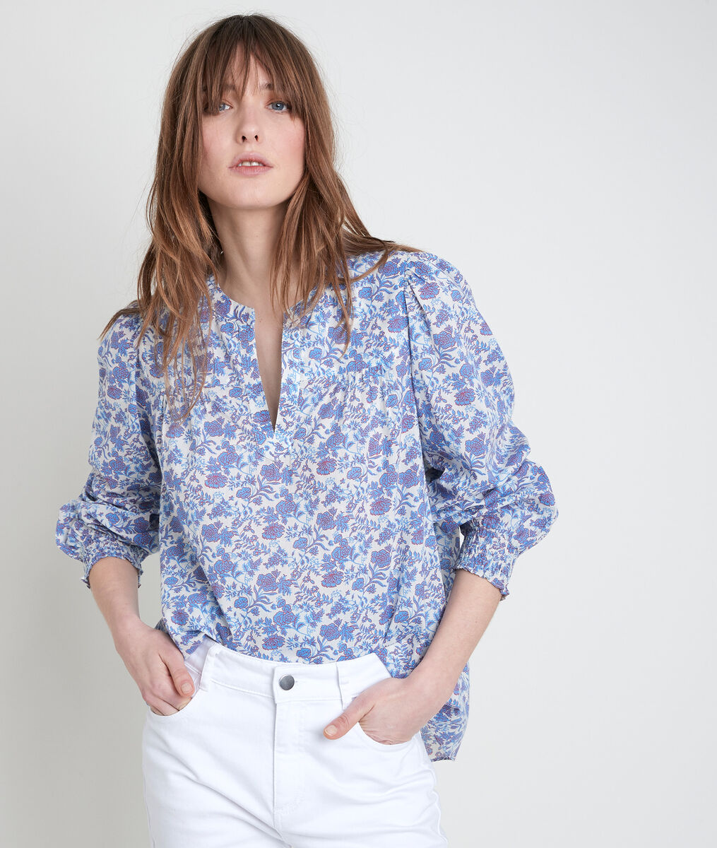 TENESSIS floral forget-me-not print blouse PhotoZ | 1-2-3