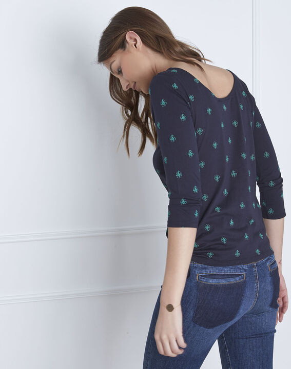 Perla navy embroidered T-shirt with ties (5) - Maison 123