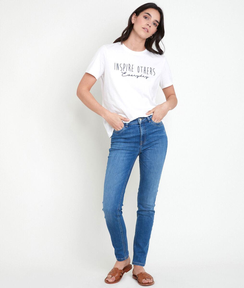 IRMA ecru cotton T-shirt with slogan PhotoZ | 1-2-3