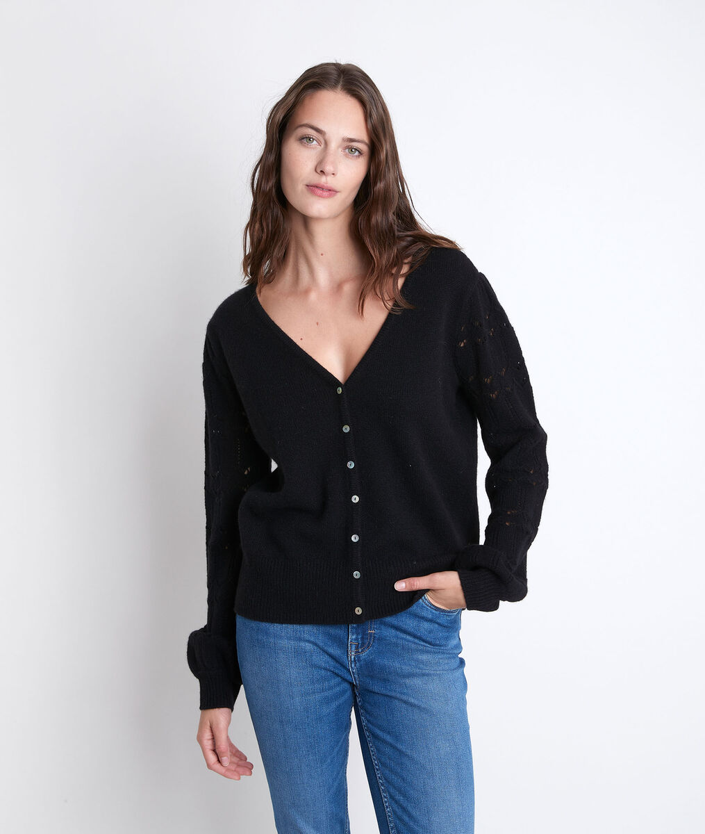 Respect black reversible cashmere cardigan PhotoZ | 1-2-3