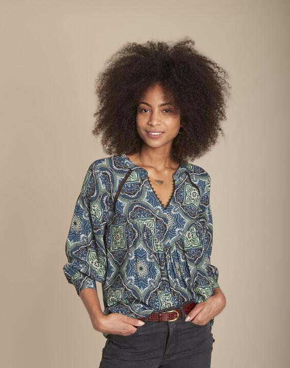 Marlene navy floral print blouse PhotoZ | 1-2-3