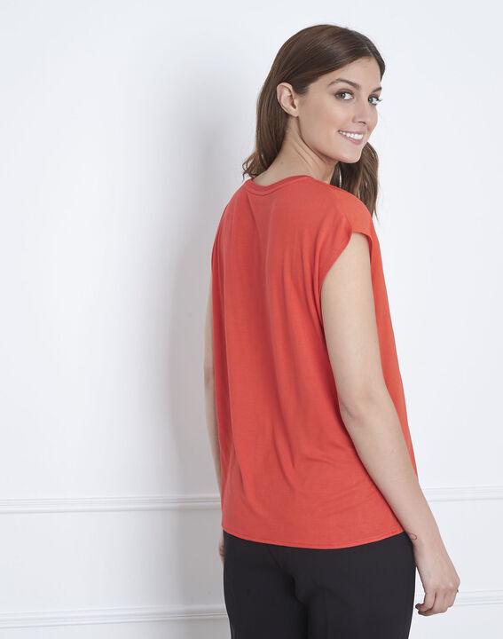 Vanissa red dual-fabric blouse (4) - Maison 123