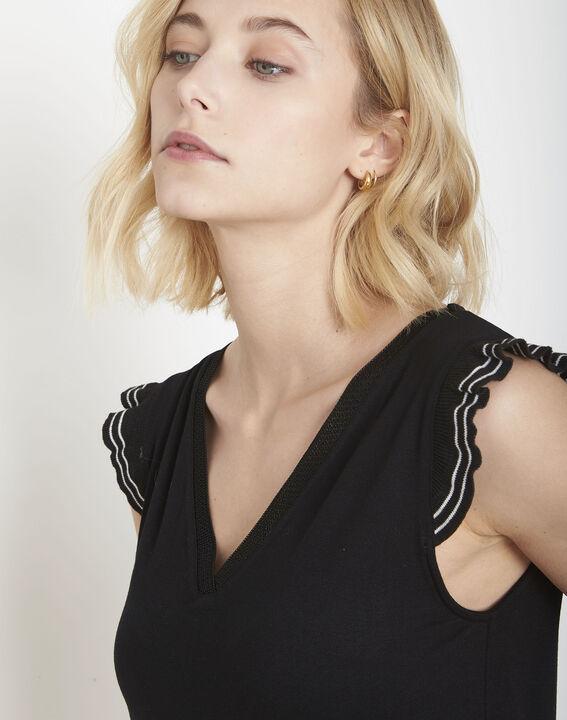 Paulina black ruffled T-shirt (3) - Maison 123