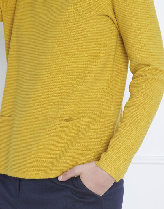 Belize lime green fine knit funnel neck pullover (3) - Maison 123