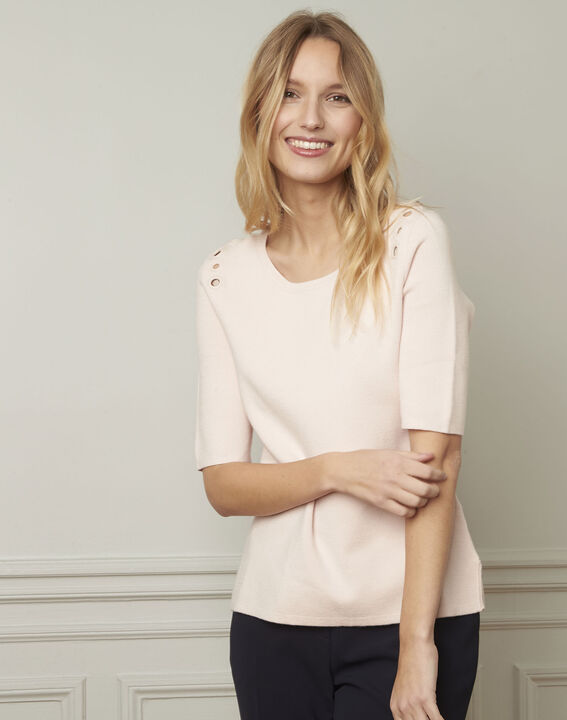 Abricot powder pullover with compact eyelets  (2) - Maison 123
