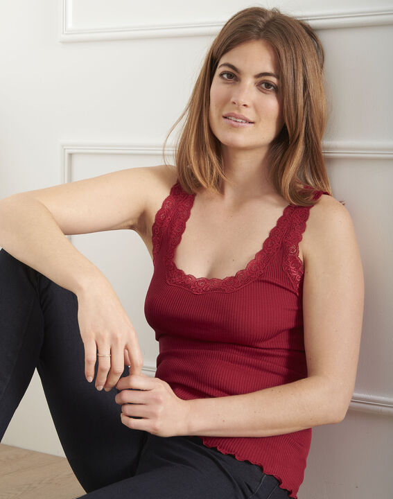 Guest red silk and cotton tank top with lace neckline (1) - Maison 123