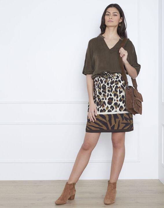 Venise khaki bi-material blouse (1) - Maison 123