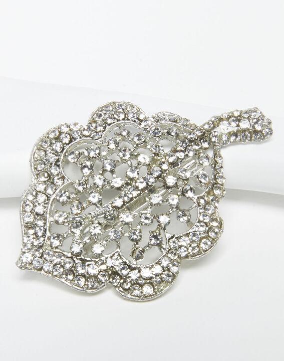 Xav silver leaf brooch with silver tone stones (2) - Maison 123
