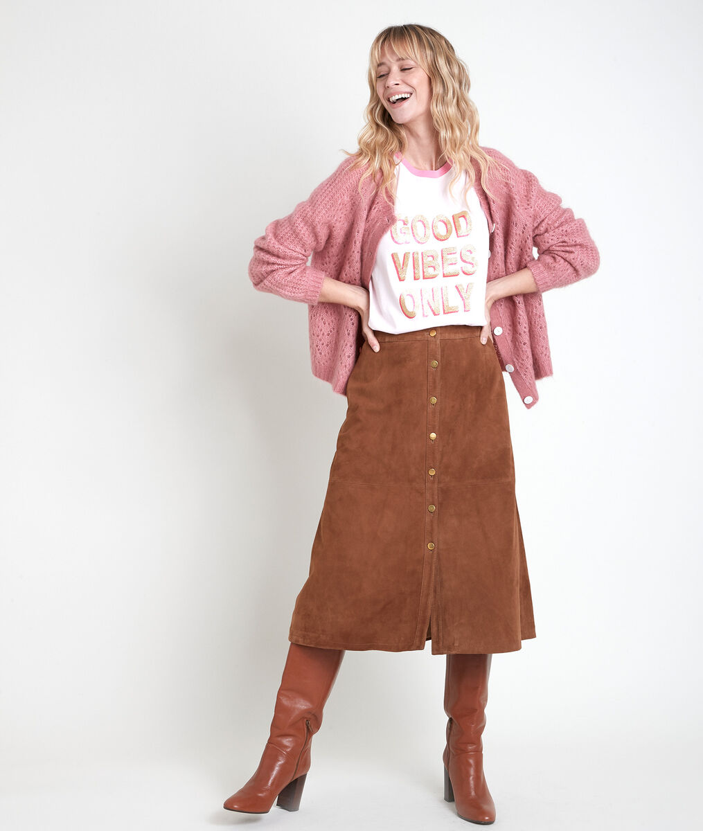 ELY camel-coloured suede skirt PhotoZ | 1-2-3