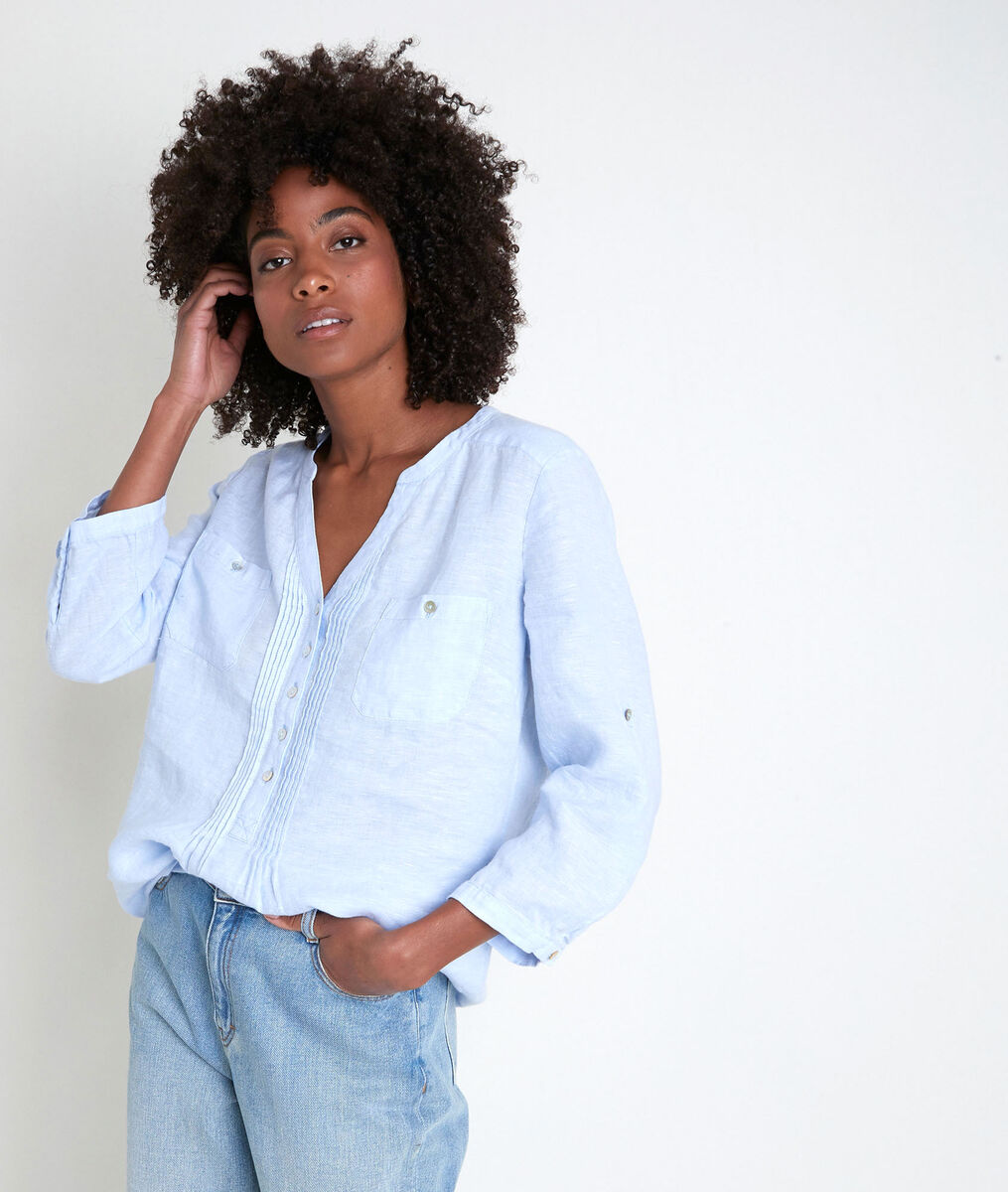 Roma azure linen blouse PhotoZ | 1-2-3
