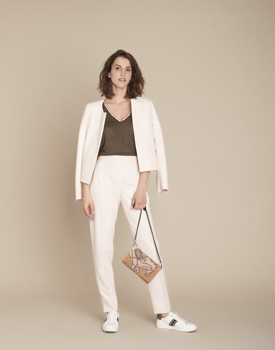 Lara powder-coloured microfibre cigarette trousers PhotoZ | 1-2-3