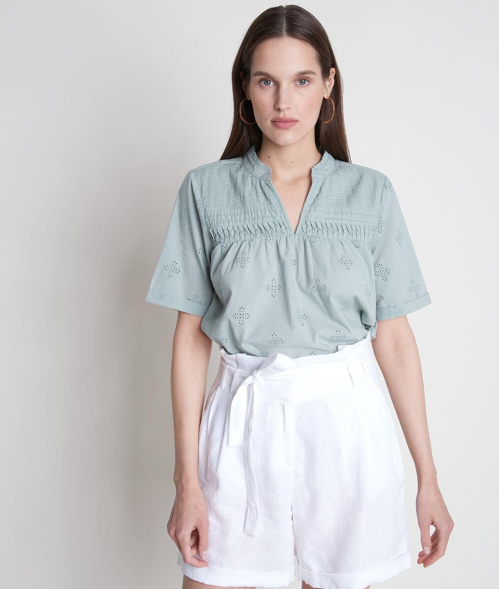 TOBIAS V-neck mint embroidered blouse PhotoZ   1-2-3