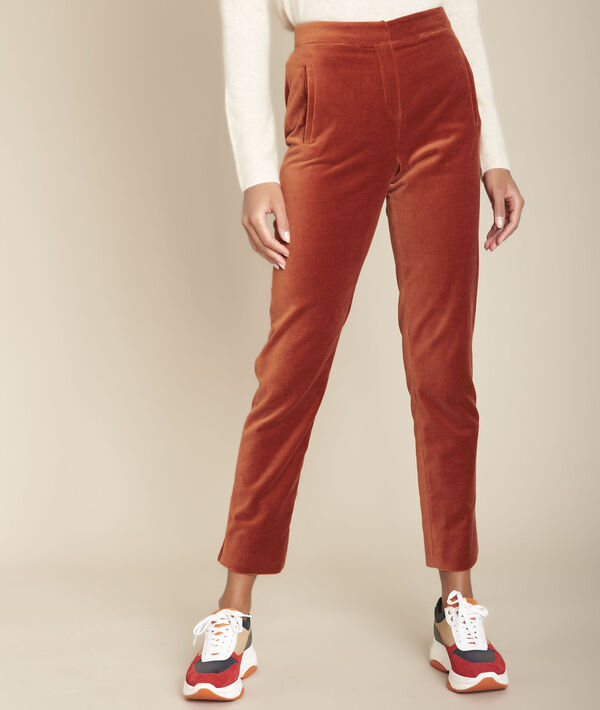Ethan mahogany straight velvet trousers PhotoZ | 1-2-3