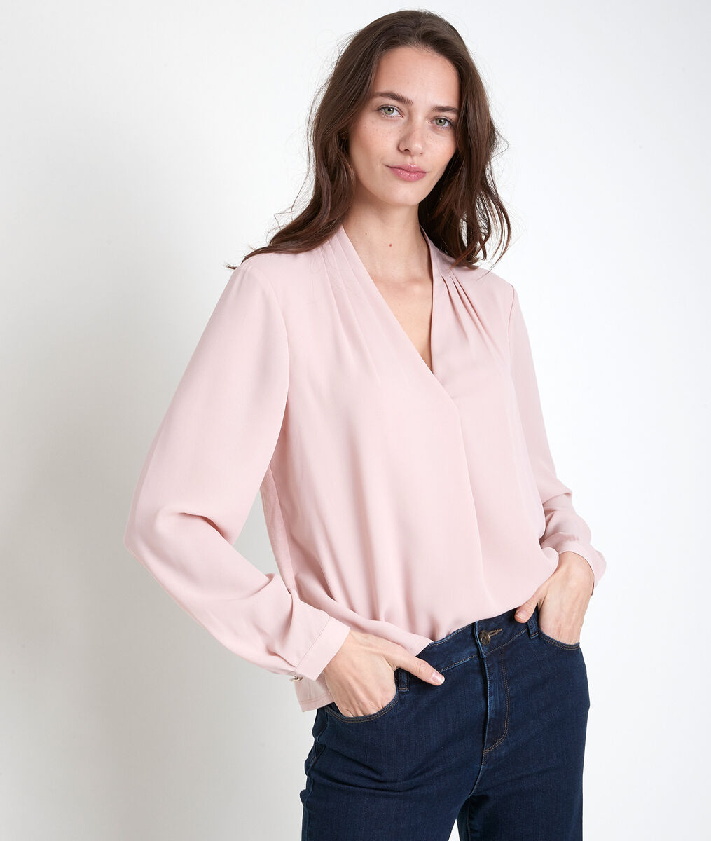 Davina pink two-fabric blouse PhotoZ | 1-2-3