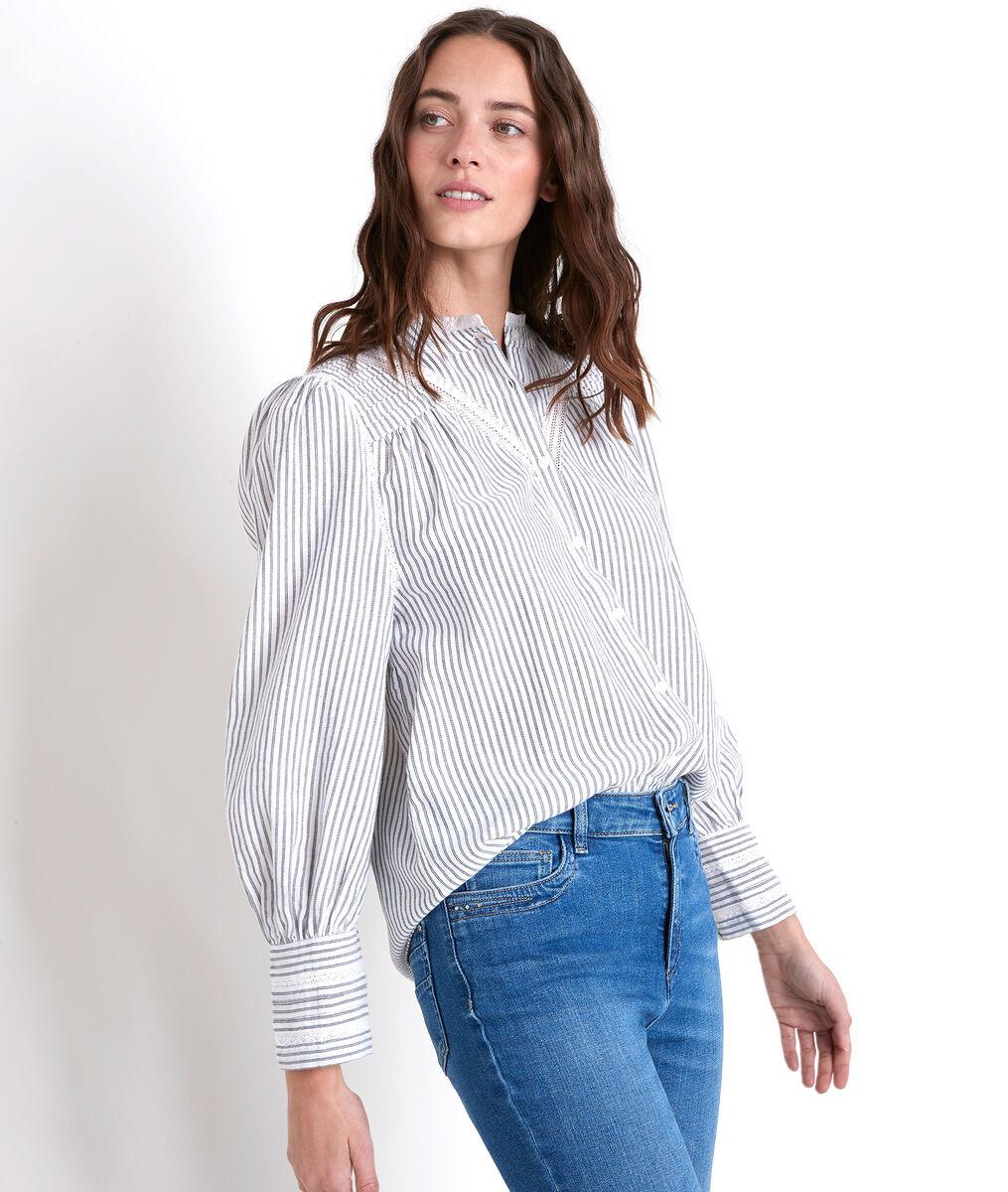 JOHANA striped embroidered blouse PhotoZ | 1-2-3