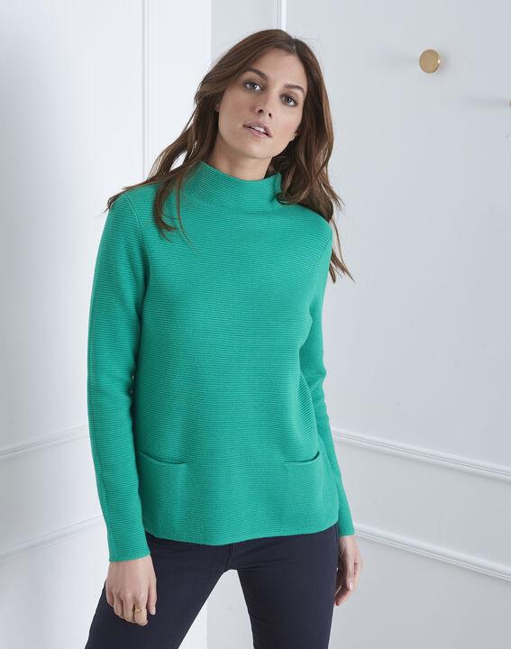 Belize green fine knit funnel neck pullover PhotoZ | 1-2-3