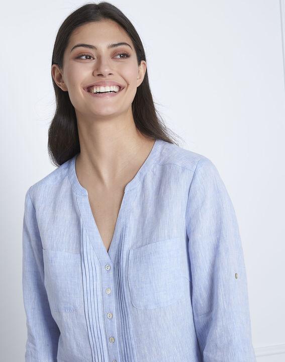 Roma sky blue linen blouse (3) - Maison 123