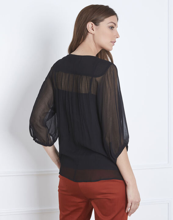 Valentine black lace blouse with tassels (4) - Maison 123