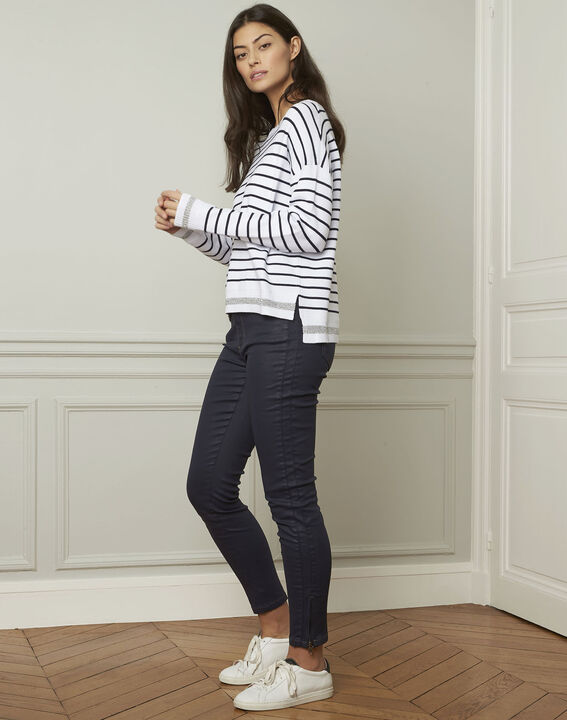 Archipel white striped viscose blend pullover (2) - Maison 123