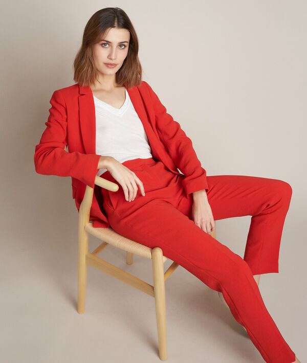 Lisa red crepe jacket PhotoZ | 1-2-3