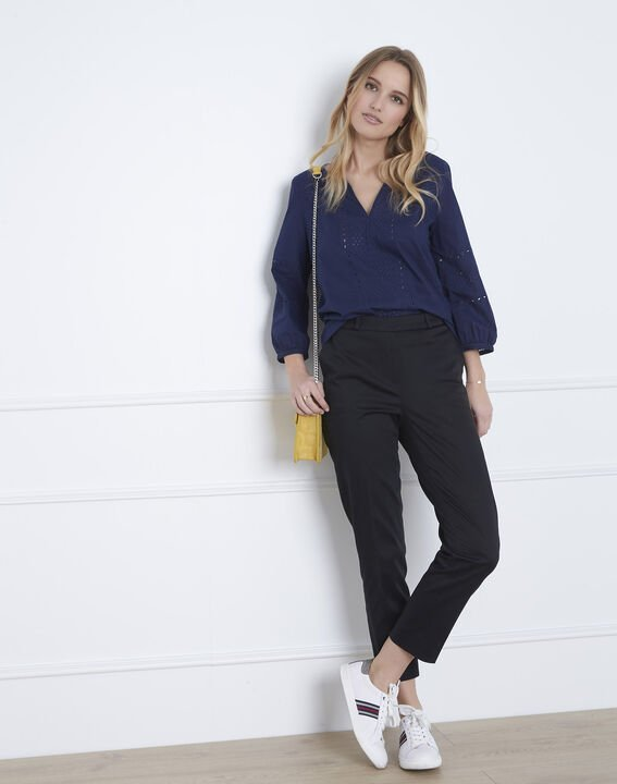 Verveine navy blouse with broderie anglaise (2) - Maison 123