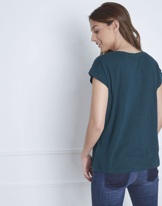 Paola dark green embroidered T-shirt (4) - Maison 123