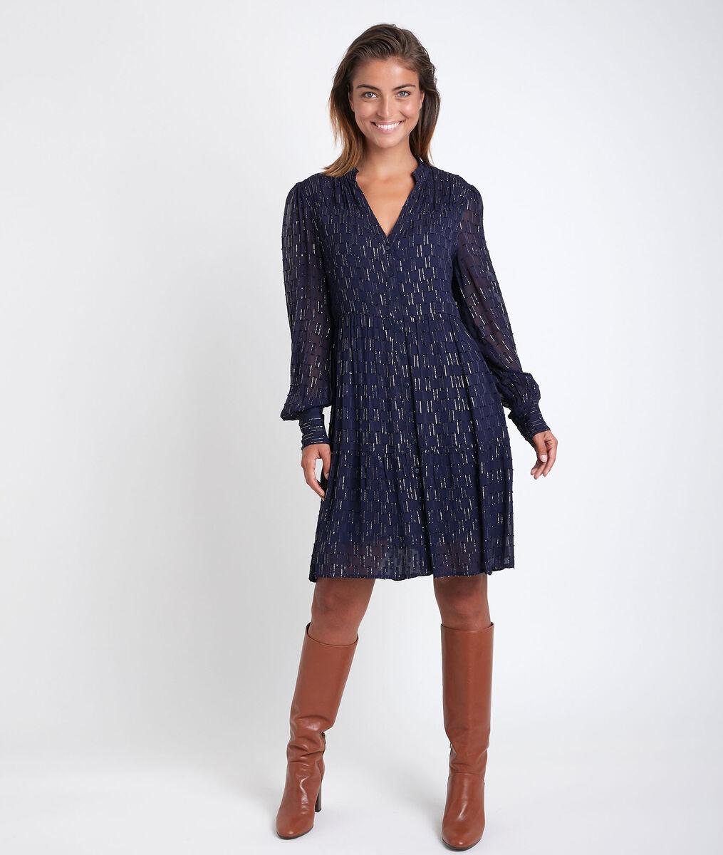 Cassandra navy lurex dress PhotoZ   1-2-3