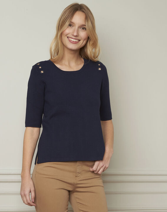 Abricot navy pullover with compact eyelets  (1) - Maison 123