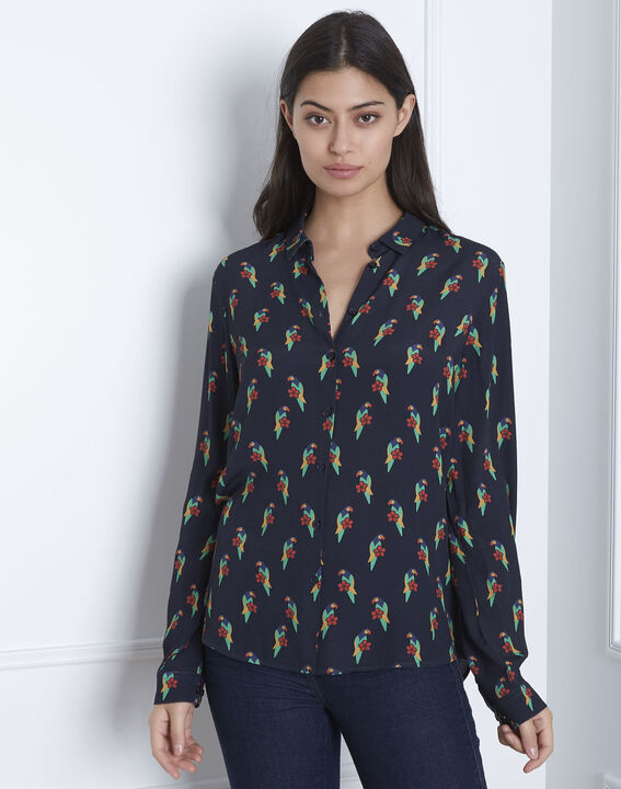 Ravel black shirt with parrot print PhotoZ | 1-2-3