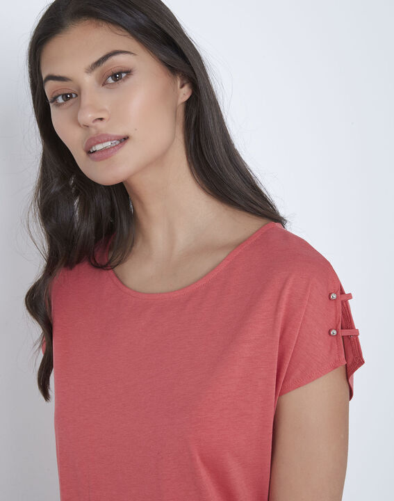 Palmbeach pink T-shirt with shoulder detailing (3) - Maison 123